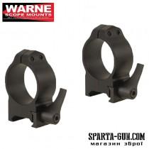 Кільця швидкоз'ємні Warne MAXIMA Quick Detach Rings 30 мм. Під планку Weaver / Picatinny. Висота Medium (під об'єктиви 42-52 мм). Сталь.