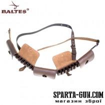 Патронташ 1-рядний з клапанами на 30 патронів (шкіра юхтове)