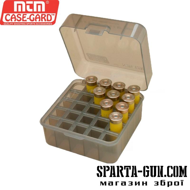 Коробка MTM Dual Gauge Shotshell Case универсальная на 25 патронов 12/16/20 кал. Цвет – дымчатый