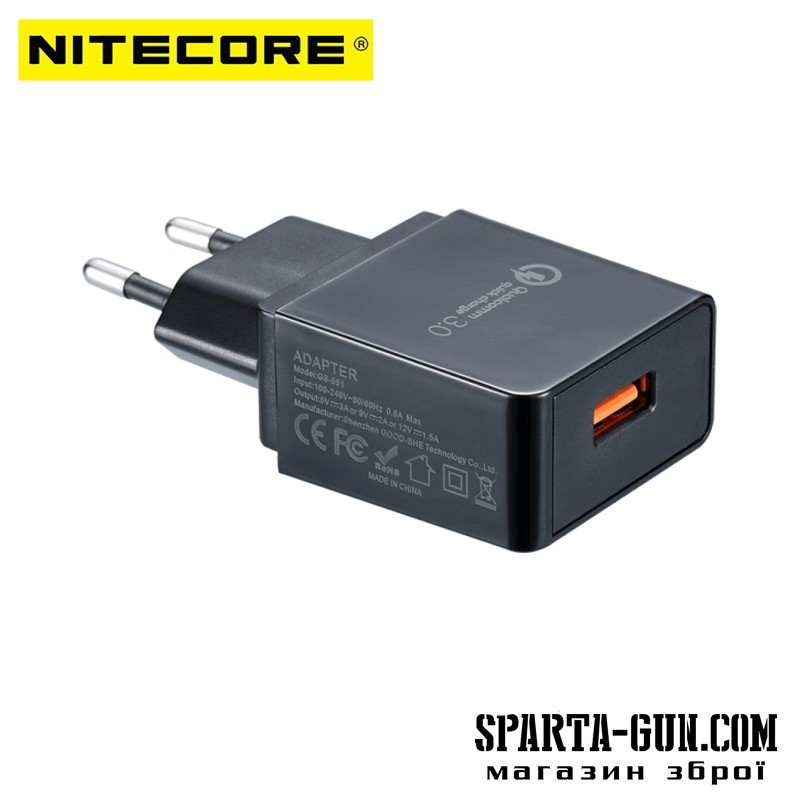 Адаптер 220V - USB с поддержкой Quick Charge 3.0 Nitecore (3A)