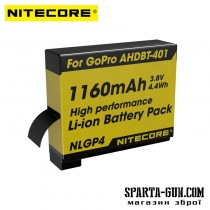 Аккумулятор литиевый Li-Ion Nitecore NLGP4 для GoPro AHDBT-401 3.7V (1160mAh)