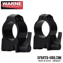 Кольцa быстросъемные Warne MAXIMA Quick Dedach Rings 25,4 мм. Под планку Weaver/ Picatinny. Высота Medium (под объективы 36-42 мм). Сталь.