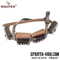 Патронташ наборной с 2-х рядными подсумками на 40 патронов (кожа юфтевая)