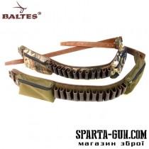 Патронташ комбинированный (кордовая ткань+кожа) без клапанов на 12 патронов с 2-мя карманами под нарезные патроны (12шт.)