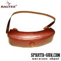 Патронташ-сумка на 24 патрона 12 калибра с клапаном(кожа говяжья) с регулируемой шлеей на плечо
