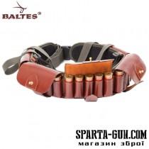 Патронташ комбинированный (кордовая ткань+кожа) c кожаными клапанами, на 25 патронов,12 калибра и разгрузочной шлеей