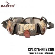 Патронташ комбинированный (кордовая ткань+кожа) c кордовыми клапанами и эластичными карманами под 25 патронов,12, 16, 20 калибра и разгрузочной шлеей