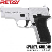 Пистолет стартовый Retay Baron HK кал. 9 мм. Цвет - nickel.